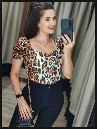 Body Animal Print com Manga Bufante