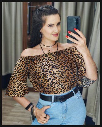 Cropped Ciganinha Animal Print