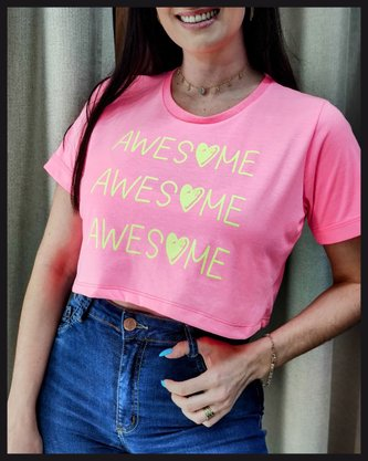 Cropped Rosa Neon Awesome